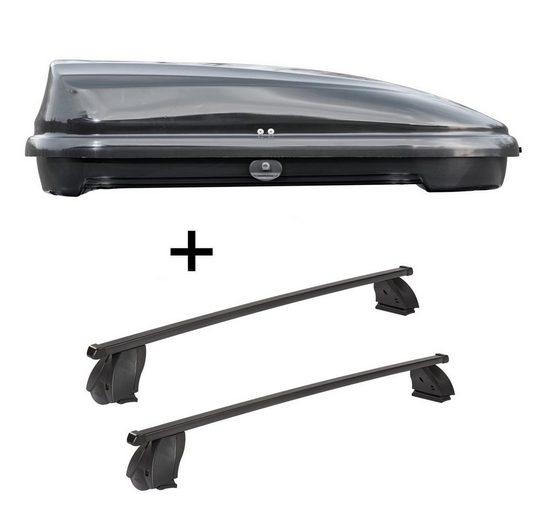 VDP Fahrradträger, Dachbox VDPFL320 320 Liter schwarz glänzend + Dachträger K1 MEDIUM kompatibel mit Fiat Multipla II (5Türer) ab 04
