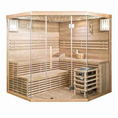 HOME DELUXE Sauna »Skyline XL BIG«, Holz: Hemlocktanne - Maße: 200 x 200 x 210 cm - inkl. komplettem Zubehör, Dampfsauna Aufgusssauna Finnische Sauna