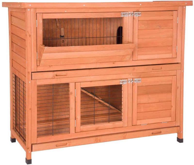 EUGAD Tierhaus »0001TL-DPT«, Hasenstall Kaninchenstall Hasenkäfig Kleintierstall Meerschweinchen Massivholz Hellrot 120 x 50 x 100,5 cm