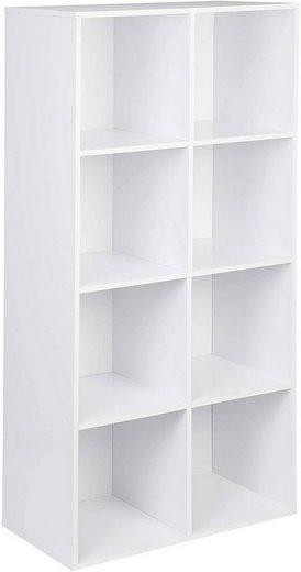 Woltu Bücherregal, Bücherregal mit 8 Fächern Modell Kuep weiß