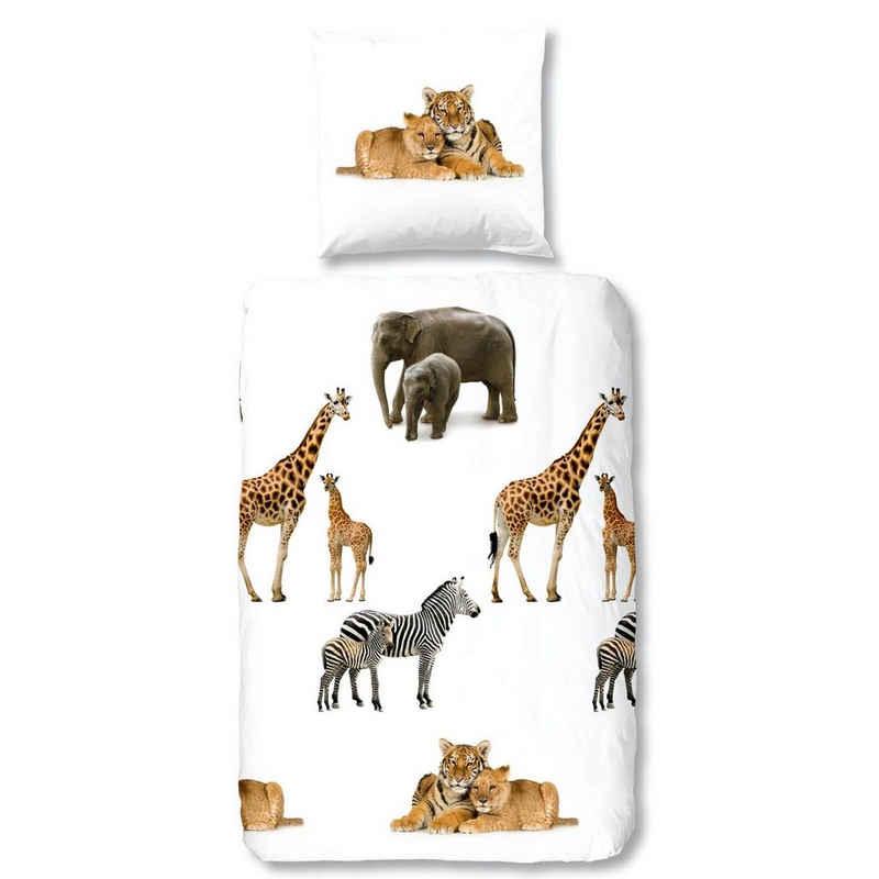 Bettwäsche »Young Wild White«, good morning, Safari, Elefant, Giraffe