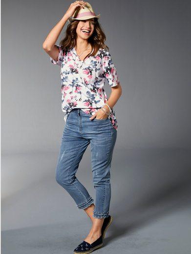 MIAMODA 7/8 Jeans mit Dekoperlen und kleinen Fransen am Saum