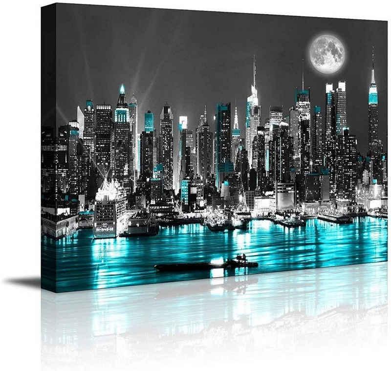 Visario Leinwandbild »1 teiliges Wandbild auf Leinwand 80 x 60 cm fertig auf Rahmen gespannt von Visario«, NYCatNight