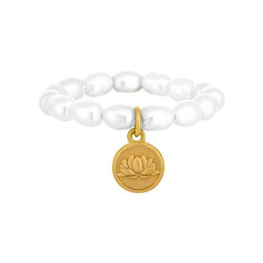 CAÏ Perlenring »Perlen 925 Silber Münze vergoldet Lotusblüte«, Süßwasserzuchtperlen