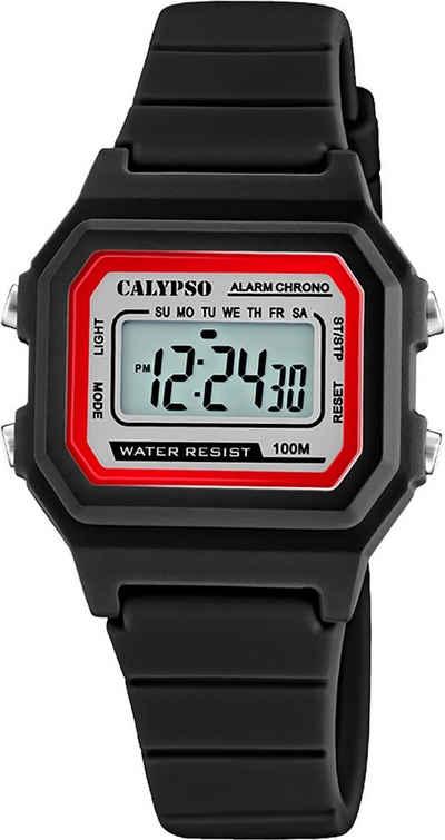 CALYPSO WATCHES Digitaluhr »UK5802/6 Calypso Unisex Uhr Digital Sport K5802/6«, (Digitaluhr), Damen, Herrenuhr eckig, mittel (ca. 33mm), Kunststoffarmband, Sport-Style