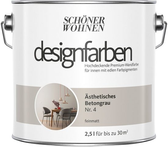 SCHÖNER WOHNEN FARBE Farbe »Designfarben«, Ästhetisches Betongrau Nr. 4, feinmatt 2,5 l