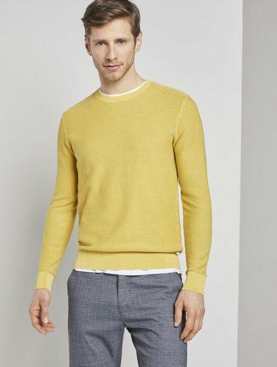 TOM TAILOR Rundhalspullover »Strukturierter Sweater im Washed-Look«