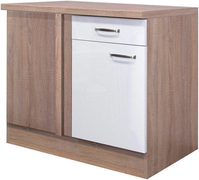 Flex-Well Exclusiv Eck-Unterschrank Valero 110 cm x 60 cm Hochglanz Weiß