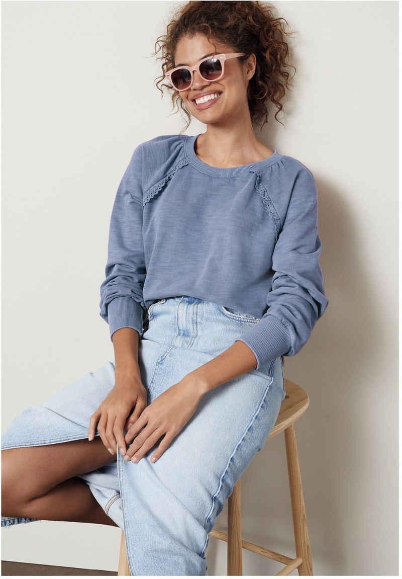 Next Sweatshirt »Pullover mit Rüschen und Lochstickerei« (1-tlg)