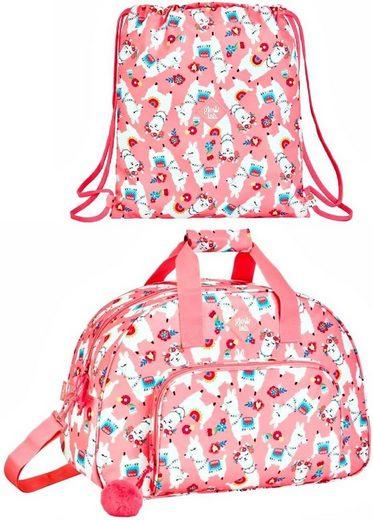 safta Sporttasche »Lama - XL Sporttasche und Sportbeutel, rosa« (Reißverschluss, Mädchen), Geringes-Gewicht
