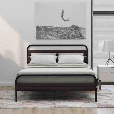 Flieks Metallbett, Doppelbett mit Kopfteil und Fußteil aus Holz