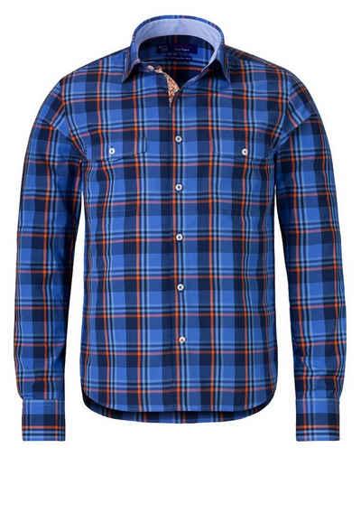 East Club London Karo-Langarmhemd mit Ellenbogen-Patches