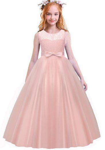 TOPMELON Abendkleid Prinzessinnenkleid, Partykleid, mit Spitze, Ärmellos und rückenfrei, V-Ausschnitt hinten