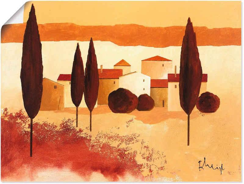 Artland Wandbild »Kleines Mediterranes Dorf«, Wiesen & Bäume (1 Stück), in vielen Größen & Produktarten -Leinwandbild, Poster, Wandaufkleber / Wandtattoo auch für Badezimmer geeignet