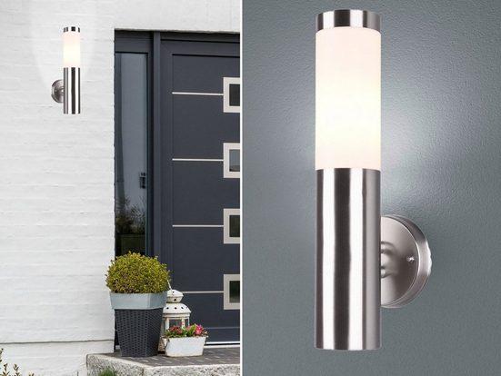 meineWunschleuchte Außen-Wandleuchte, Außenwandlampe Edelstahl, Außenleuchte für Haus-Wand Fassaden-Beleuchtung Hausbeleuchtung IP44