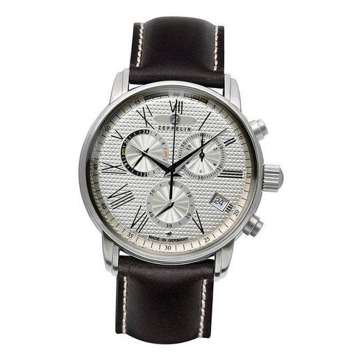 ZEPPELIN Chronograph »UZ7694/4 Zeppelin Herren Uhr Z7694/4 Leder«, (Chronograph), Herren Armbanduhr rund, groß (ca. 42mm), Lederarmband schwarz