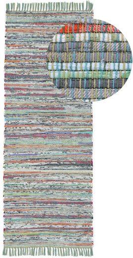 Läufer »Kelim Chindi«, carpetfine, rechteckig, Höhe 6 mm, Flachgewebe Wendeteppich mit Fransen, Wohnzimmer
