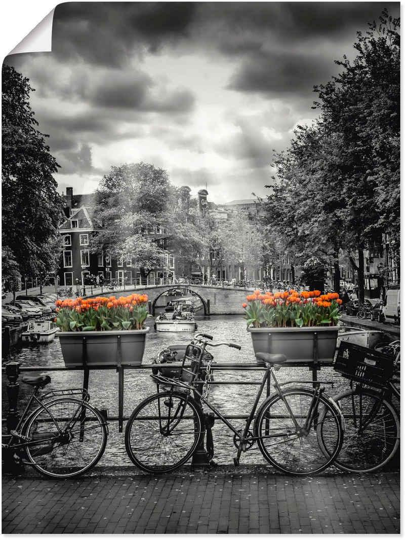 Artland Wandbild »Amsterdam Herengracht & Sonnenstrahlen«, Fahrräder (1 Stück), in vielen Größen & Produktarten - Alubild / Outdoorbild für den Außenbereich, Leinwandbild, Poster, Wandaufkleber / Wandtattoo auch für Badezimmer geeignet