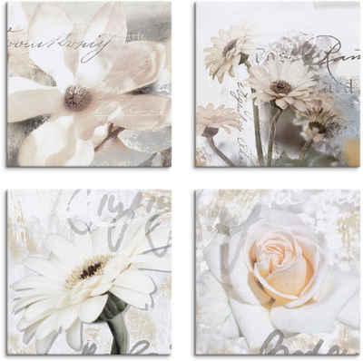 Artland Leinwandbild »Magnolie Gerberas Rosen in Buchstaben«, Blumen (4 Stück)