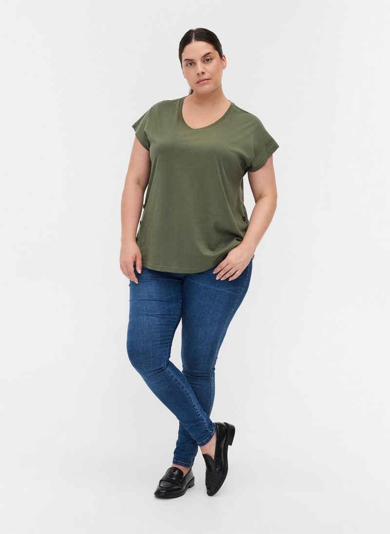 Zizzi T-Shirt Große Größen Damen T-Shirt aus Baumwolle mit Rundhals und Knöpfen
