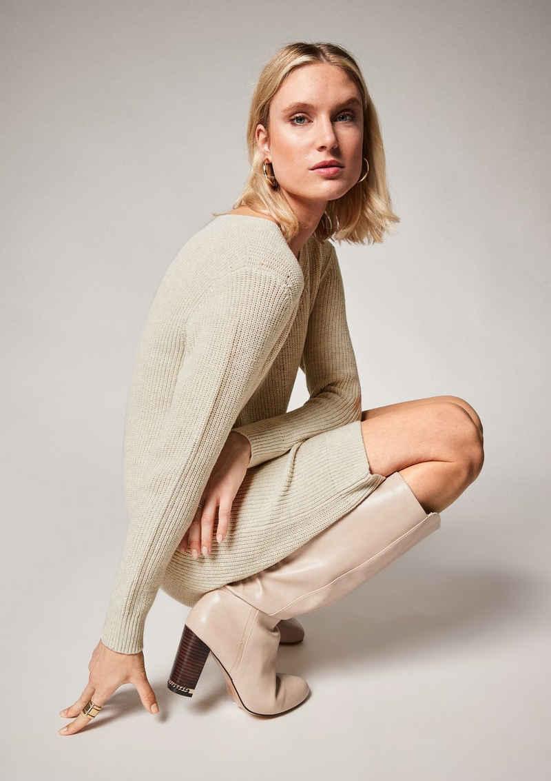 Comma Minikleid »Strick-Kleid mit V-Ausschnitt« Rippblende
