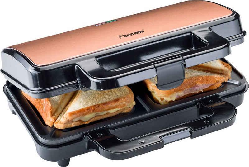 bestron Sandwichmaker XL Sandwich-Toaster, 900 W, antihaftbeschichtet, für 2 Sandwiches, Schwarz/Kupfer