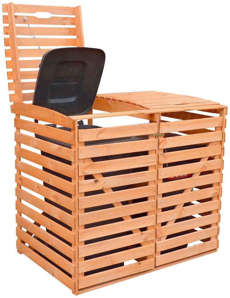 promadino Mülltonnenbox, für 2x120 l aus Holz, BxTxH: 130x63x111 cm