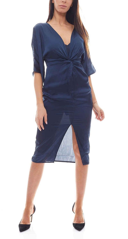 NA-KD Sommerkleid »NA-KD x Hanna Licious Kimono luxoriöses Damen Kleid mit Schlitz Freizeit-Kimono Blau«
