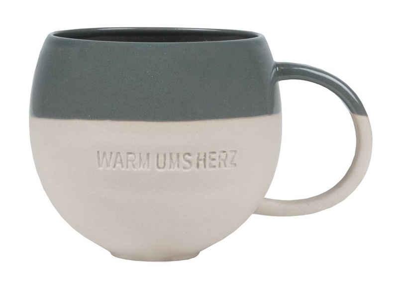 Räder Design Tasse »Großer Becher, Warm ums Herz, mit Henkel«, Steinzeug, Steinzeug Tasse zweifarbig