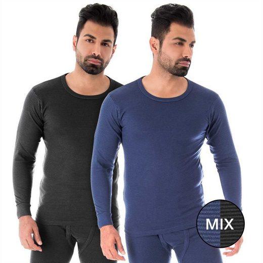 Black Snake Thermounterhemd »ringel« (2 Stück), Herren Unterhemden mit Innenfleece 2er Pack