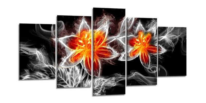 Visario Bild mit Rahmen »2 m x 1 m fünfteiliges Bilderset von Visario auf Leinwand fertig zum Aufhängen/gerahmt«, FeuerBlume