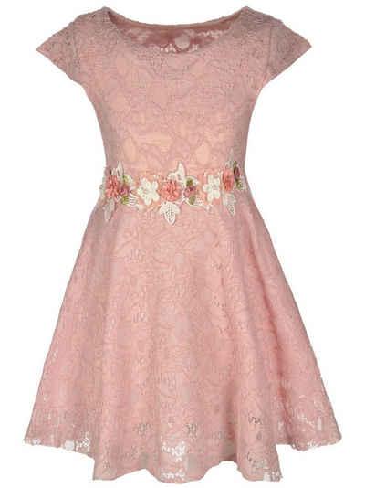 KMISSO Sommerkleid »Mädchen Kleid mit Spitze« (1-tlg) mit Bindegürtel