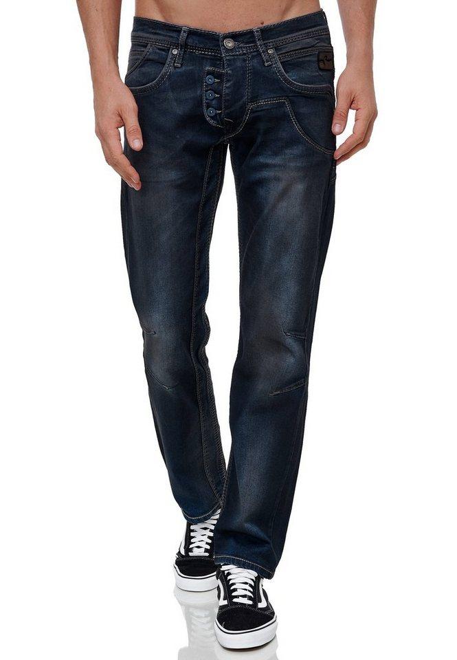 rusty neal -  Straight-Jeans »RUBEN 47« in modischer Used-Optik