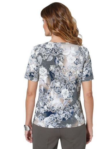 Lady Shirt mit Druck aus Blüten und Spitze