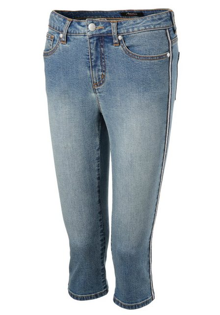 Hosen - Aniston SELECTED Caprijeans mit glänzdem Tape › blau  - Onlineshop OTTO