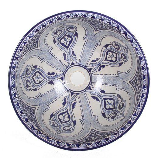 Casa Moro Aufsatzwaschbecken »Mediterranes Keramik-Waschbecken Fes94 rund Ø 40 cm Höhe 18 cm blau weiß, Handmade Waschschale, Marokkanisches Handwaschbecken Aufsatzwaschbecken für Bad Gäste-WC, WB40304«, Handmade