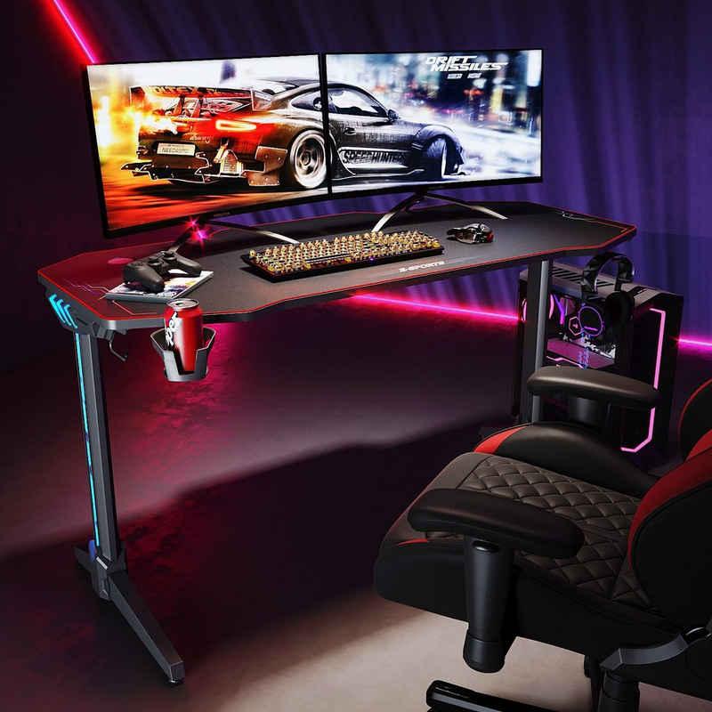 SONNI Gamingtisch »RGB Gaming Tisch mit LED Beleuchtung«, Breite 140cm