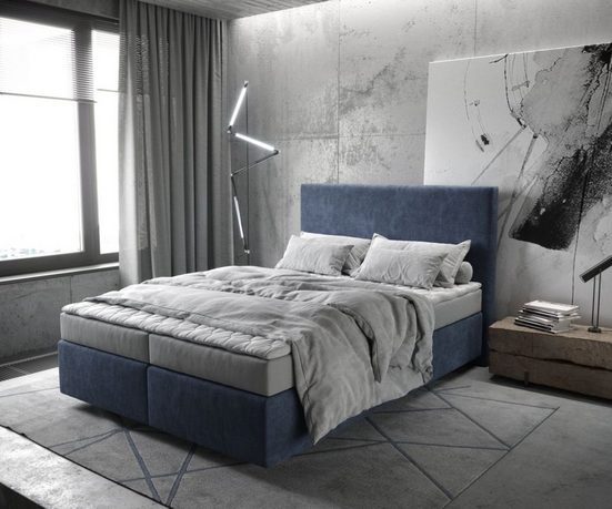 DELIFE Boxspringbett »Dream-Well«, Navyblau 140x200 cm mit Matratze und Topper Boxspringbett