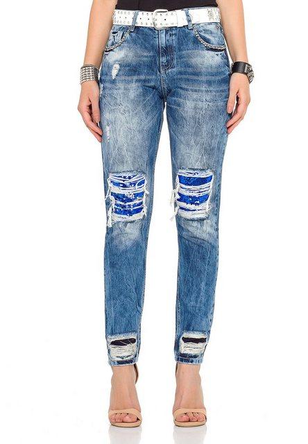 Hosen - Cipo Baxx Bequeme Jeans im rockigen Look › weiß  - Onlineshop OTTO
