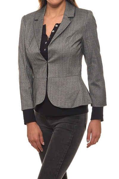 GUIDO MARIA KRETSCHMER Kurzblazer »GUIDO MARIA KRETSCHMER Jacke kurzer Damen Blazer mit Fischgrätenmuster Jackett Grau«