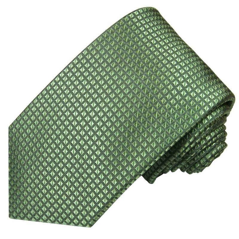 Paul Malone Krawatte »Herren Seidenkrawatte Designer Schlips modern uni Waffelmuster 100% Seide« Schmal (6cm), grün 2110