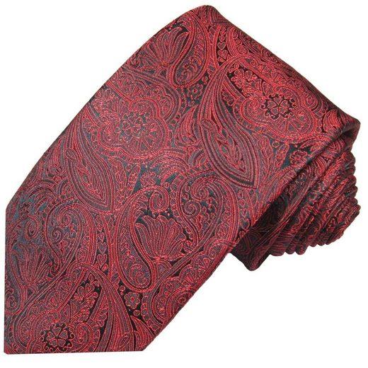 Paul Malone Krawatte »Elegante Seidenkrawatte Herren Schlips modern paisley brokat 100% Seide« Schmal (6cm), rot 586