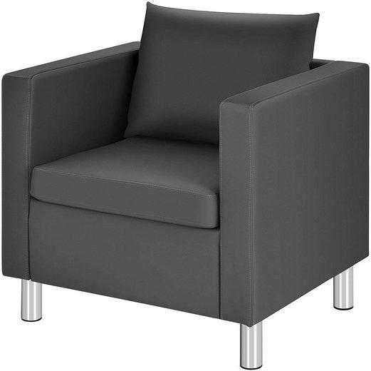 COSTWAY Sofa »Einzelsofa«, mit Kissen, Einzelsessel, Sofagarnitur, Clubsessel, Loungesessel, Cocktailsessel, Ledersessel