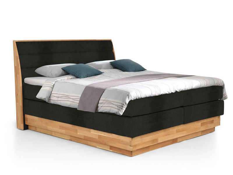 Moebel-Eins Boxspringbett, MAILO Boxspringbett mit Bettkasten, Material Massivholz Eiche/ Bezug Stoff in 2 Farben