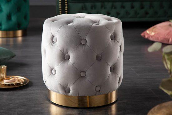 riess-ambiente Sitzhocker »MODERN BAROCK 37cm grau / gold«, Hocker · Samt · Metall · Chesterfield-Design
