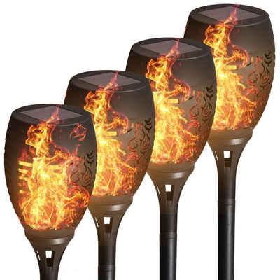 B.K.Licht Gartenstrahler, 4 x Solar LED-Fackeln, IP44, Automatisch Ein/Aus, LED-Gartenlampe, Flammenlicht, Solarleuchte