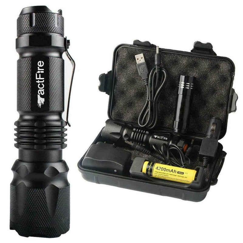 FCH Taschenlampe »Fokussierbar LED Lampe« (Set), 500LM USB Taktisches Fackel Wiederaufladbar Batterie