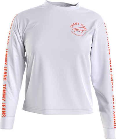 Tommy Jeans Langarmshirt »TJW CROP TAPE LS TEE« mit Tommy Jeans Logo-Schrifzügen auf Brust & Ärmeln