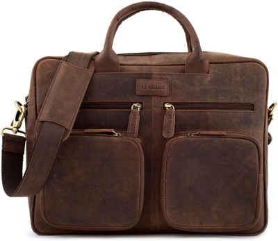 LEABAGS Aktentasche »Dallas«, Aktentasche Echt-Leder Umhängetasche Laptop 15 Zoll Tablettasche Schultertasche Herren und Damen DIN A4 Format Vintage Look Ledertasche Businesstasche