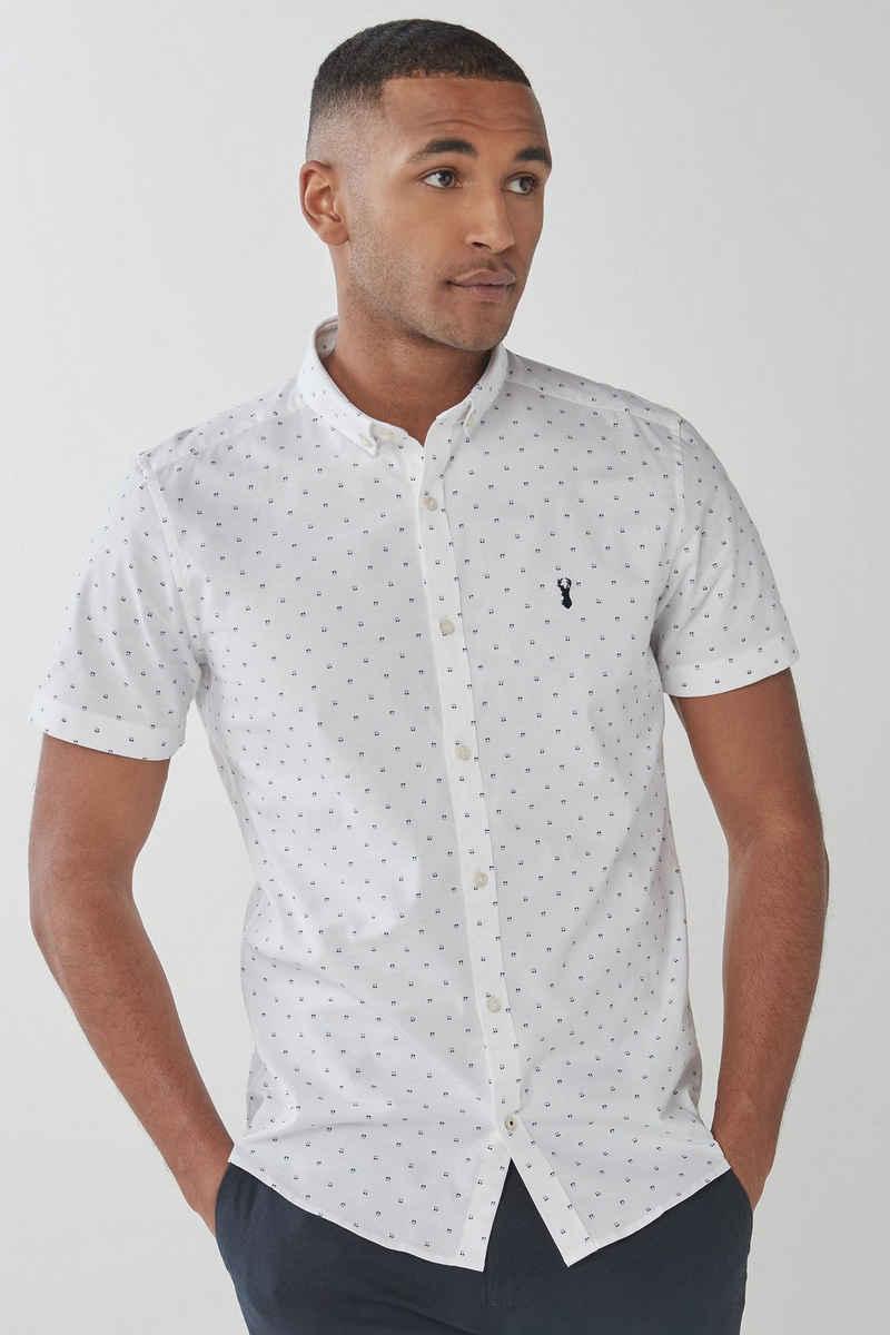 Next Langarmhemd »Stretch Oxfordhemd mit Print - Slim Fit« (1-tlg)